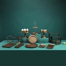 Oro Negro color Encaje Vintage postre Mesa decoración arte del hierro acrílico fuente de pastel de cumpleaños Macarons de arreglo de boda