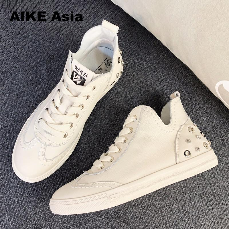 2018 Spring And Summer New Shoes Fashion Flat Shoes Women Ladies Shoes Female Sneakers Casual Ankle Lace-up High top 0#A-27