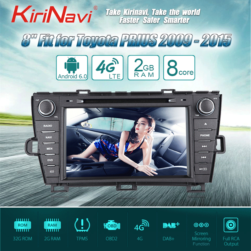 KiriNavi Octa core 4G LET android 7 touch screen car dvd for Toyota Prius bluetooth 2009 2015 support 4K Video 4G