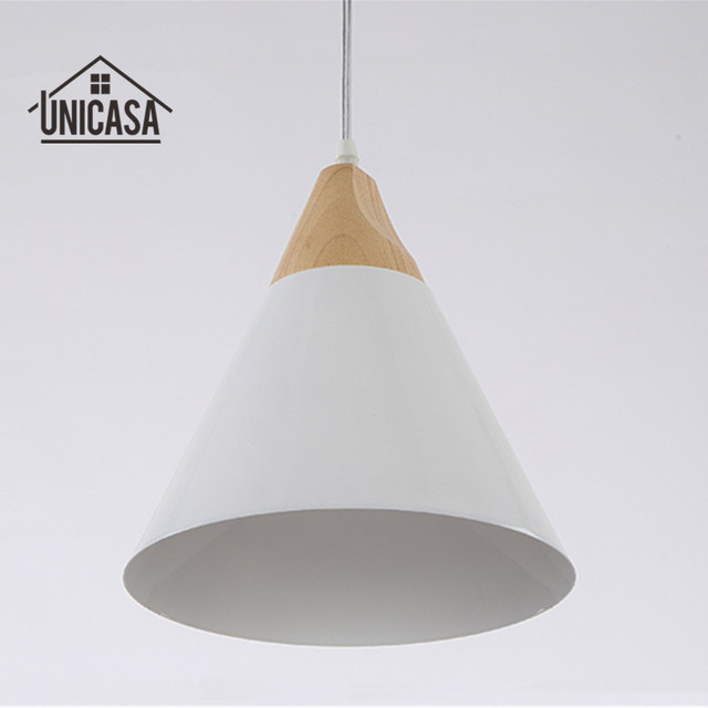Industrial Wood Pendant Lights Modern White Aluminum Mini