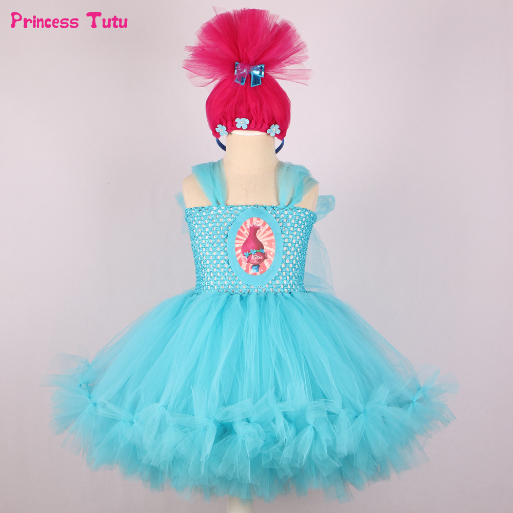 Girls Trolls Tutu Dress Fluffy Sky Blue Tulle Kids Halloween Cosplay Trolls Poppy Costume Baby Girl Birthday Party Cartoon Dress fancy girl mermai ariel dress pink princess tutu dress baby girl birthday party tulle dresses kids cosplay halloween costume