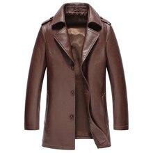 b8db496b7e5f8 Męska skórzana kurtka jesień kurtka zimowa mężczyźni prawdziwa skóra kozia  płaszcz wiatrówka długie kurtki Plus rozmiar