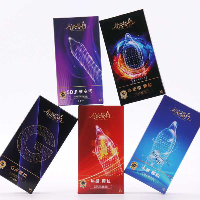 5D Dotted Thread Ribbed G Point Latex Condoms Contraceptives Big Particle Spike Condom for Men Sex Products