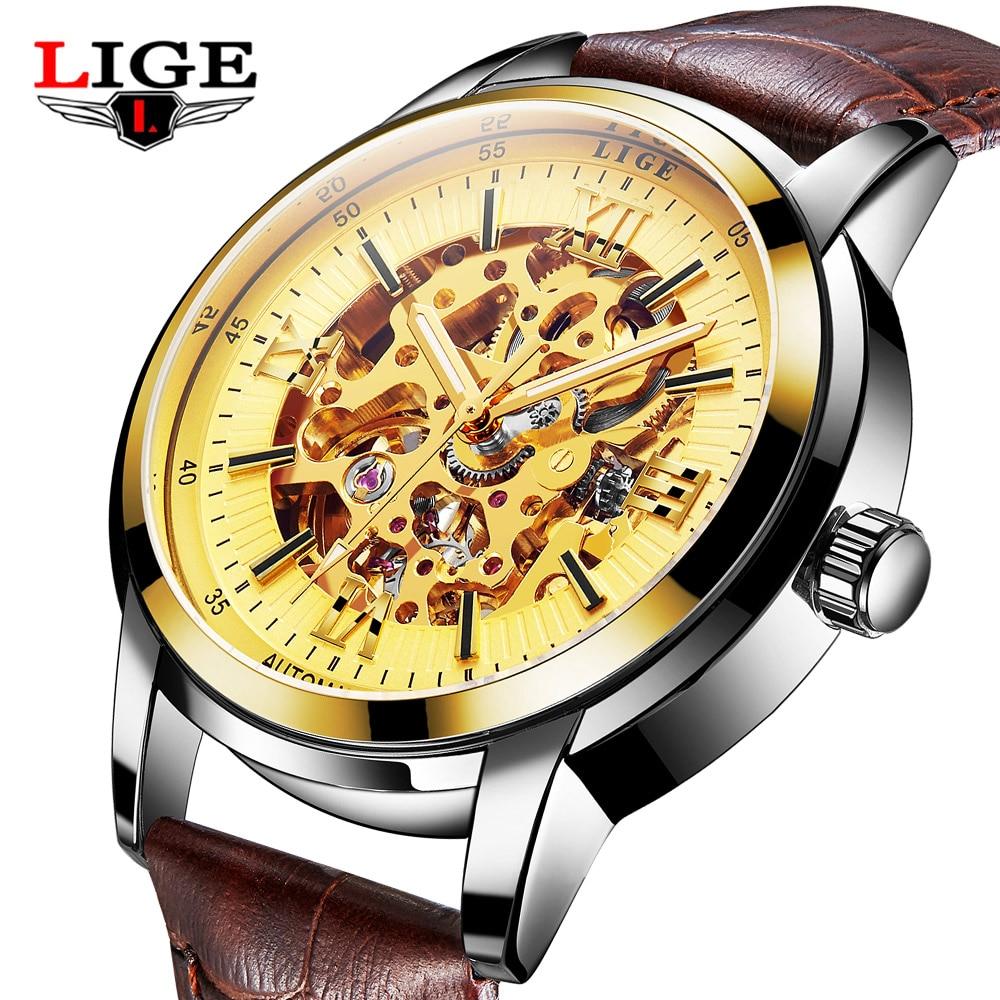 LIGE Brand Watches Men Hollow Fashion Luxury Leather Skeleton Automatic Mechanical Men Wrist Watch Male Clock relogio masculino гамбургские художники из собрания матиаса ханса