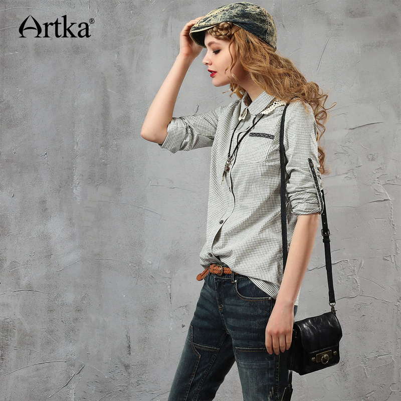 ARTKA femmes été nouveau broderie Patchwork all-match chemise décontracté col claudine manches longues confortable chemise SA15950Q