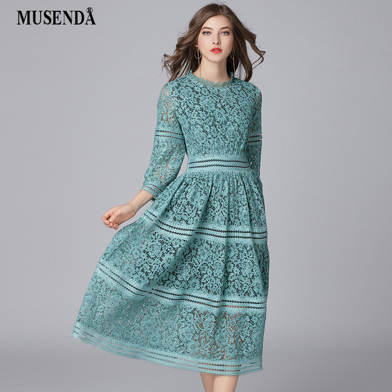 MUSENDA плюс размеры для женщин Элегантный зеленый выдалбливают кружево длинное платье-туника Новинка 2018 г. весенние женские платья Vestido Robe кос...