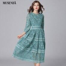 MUSENDA Plus Size Women Elegant Green Hollow Out Lace Tunic Long Dress New 2018 Spring Female Dresses Vestido Robe Clothing 5XL