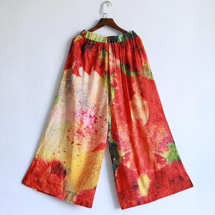 Jambe Pantalons Lin Casual Large Nouvelle Vent Multi Dames Femmes Femme Pantalon Élastique Coton National Lâche Poches Vintage Taille fcFH7PnYqR