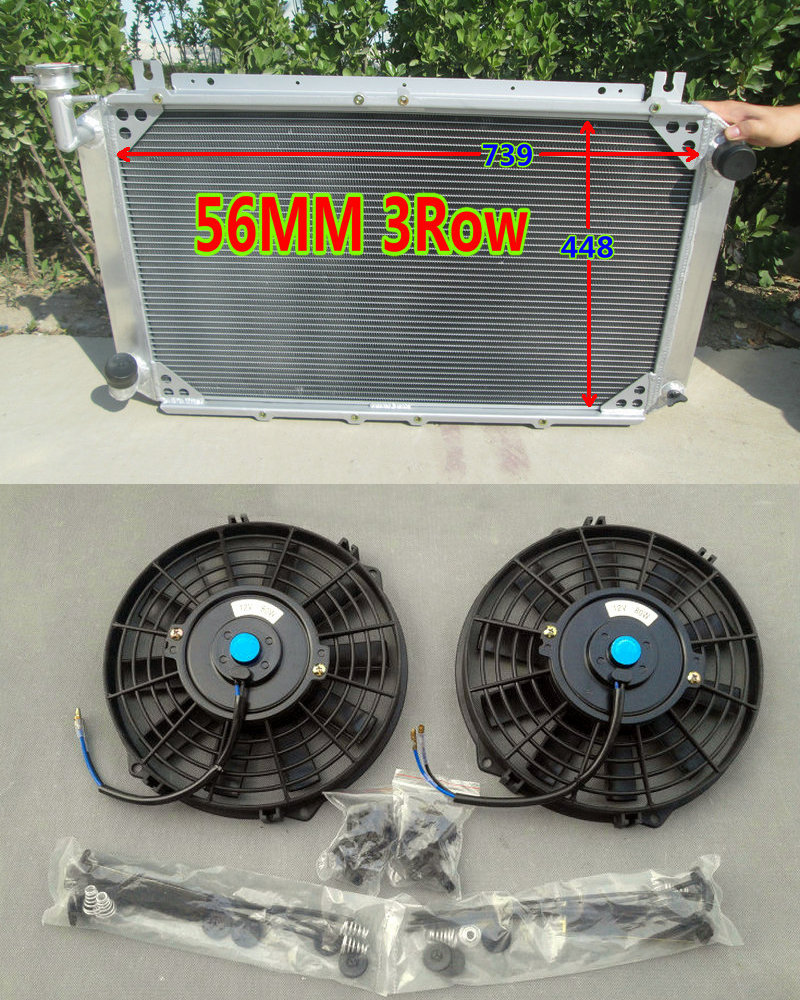 US $250 0 |3ROW 56MM Aluminum Radiator & Fans FOR NISSAN Patrol GQ SAFARI  2 8L/4 2L 4200cc DIESEL RD28T TD42 I6 & 3 0L RB30S PETROL Y60 87-in Oil