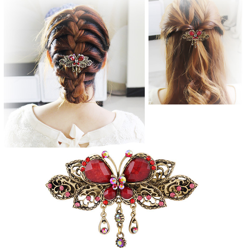 Tassel Hair Clips for Women Girls Braided Hair Clip Styling Tools Hair Accessories Hairpins Fashion Crystal Butterflies Barrette lysumduoe headband black hairpin women clip s shape barrette girl hairgrip hairgrips children hairpins jewelry hair accessories