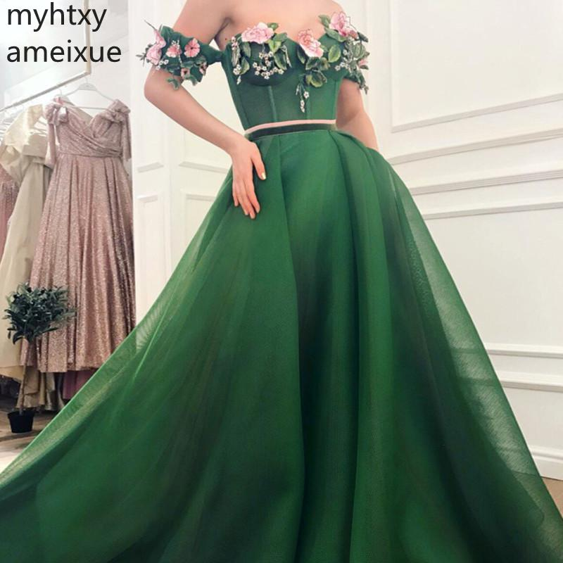 2019 New Sexy Plus Size Evening Gown Dresses For Women Sweetheart Sweep Train A-line Short Floor-length Tulle Natural Cap Sleeve