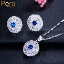 Pera Fashion 925 Sterling Silver Jewelry Royal CZ Stone Blue Swiss Cubic Zirconia Pendant Necklace Earrings Sets For Women J107