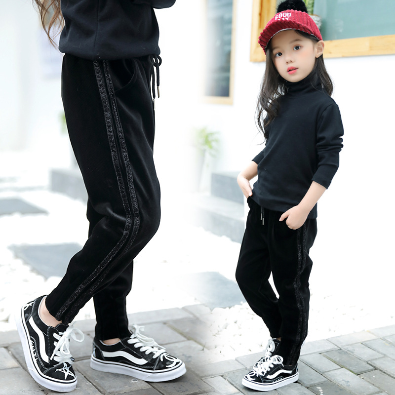 2018 New Children S Trousers For Girls Pleuche Fleece Lining Pants