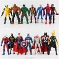 14pcs/set Super Hero The Marvel Avengers Hulk Hawkeye Captain America Thor Batman Spider man Batman PVC Action Figure 16cm