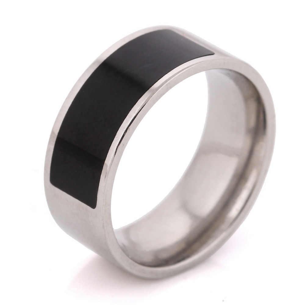 NIBAยี่ห้อสีดำเคลือบสแตนเลสแฟชั่นผู้ชายผู้หญิงแหวนสำหรับงานแต่งงาน