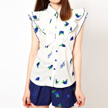 Boutiques Shirt Summer Women Chiffon Blouse Shirt Short Sleeve Ruffles Blouse Floral Printed Elegant Slim Shirt AE85