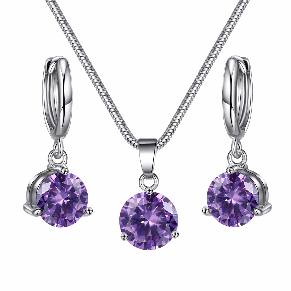 Ailend 8 Colors Jewelry Sets For Women Round Cubic Zircon