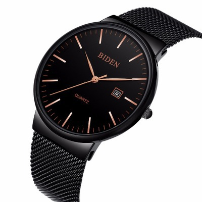 Biden mens business stainless steel wristwatches quartz luxury man watches casual waterproof calendar black white male clocks mige 2017 real time limited rushed sale man watch black white steel watchband business waterproof quartz movement mans watches