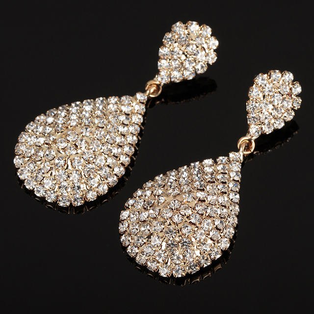New Style Gold and Silver Drop Dangle Earrings with Full Crystal Luxury Water Drop Earrings Bridal Wedding Jewelry Gifts