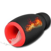 купить Smart Heating Oral Sex Cup Male Masturbation Vibrator 5 Speeds Penis Exercise Delay Massage Cup Suck Silicone Sex Toys for Men дешево