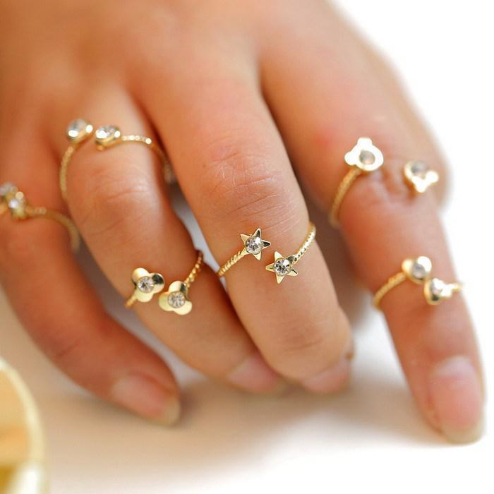 6Pcs lot Knuckle birthstone rhinestone joint anel Finger Ring for