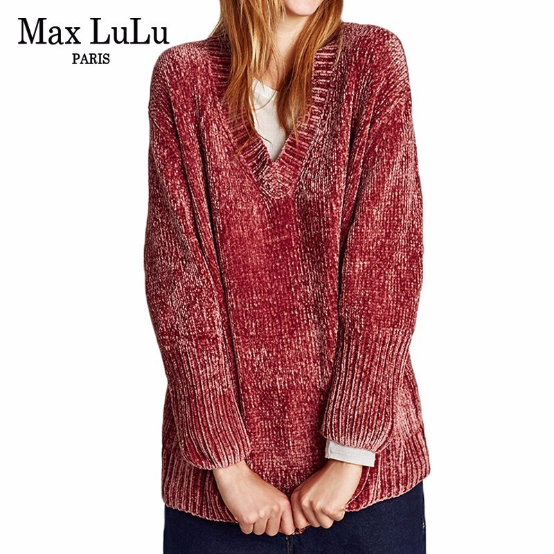 Max LuLu Spain Famous Brand Designer Womens V Neck Sweater Warm Casual Winter Jumpers Ladies Ugly Christmas Pullover Pull Femme
