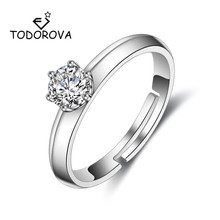Todorova Classic Wedding Rings AAA Shiny Clear Six Claw Cubic Zircon for Women Female Luxury Jewelry