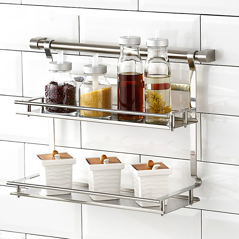 A1 304 stainless steel kitchen seasoning storage rack pendant wall hanging rack wall hanger hardware pendant Lu 41816 a1 hotel bathroom washbasin wall hanging solid thickening rack space aluminum wall hanging storage rack wx7201648