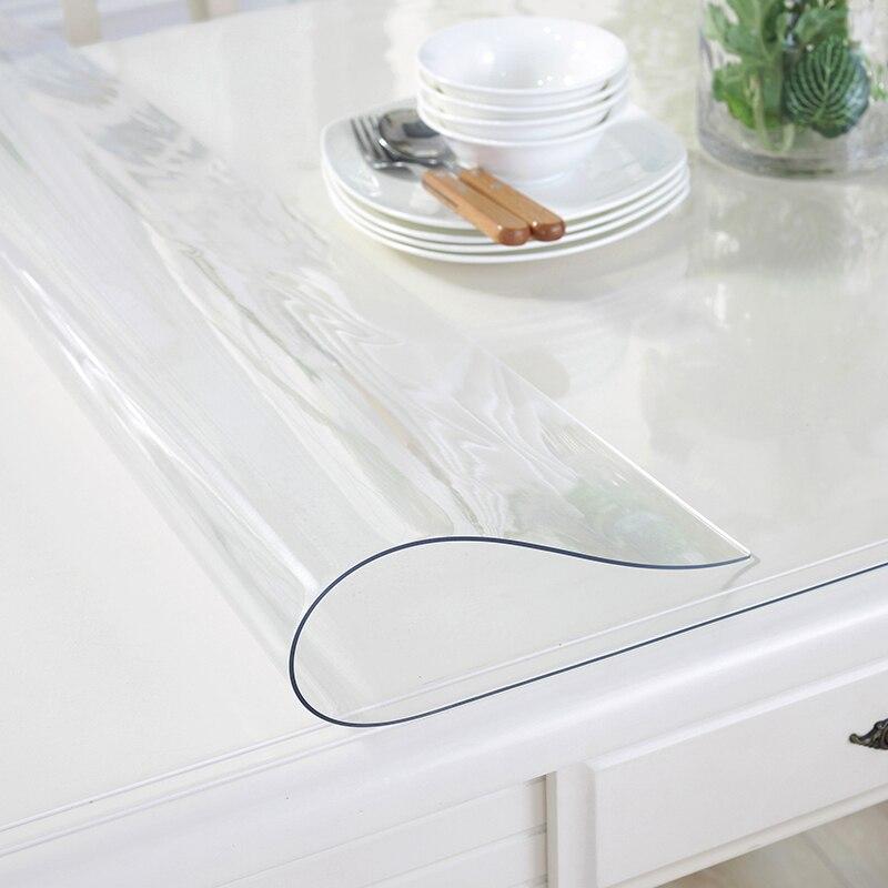 Cuisine accueil huile preuve transparent À Manger cristal floral doux verre anti brûlure rectangulaire PVC couverture tapis napperon table tissu