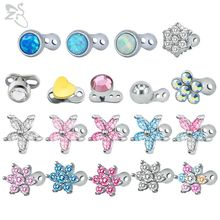 ZS Micro Dermal Piercing Stainless Steel Colorful Zirconia Anchor Piercings Top Skin Diver Surface