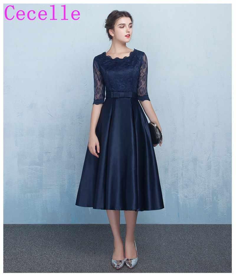 4cb07be0a78 Короткие Темно-синие Скромные Вечерние Платья для женщин с Кружево рукава  линии по колено атласная