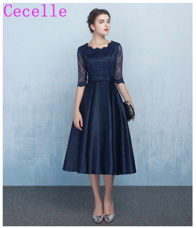 e70f29fabe Short Navy Blue Modest Bridesmaids Dresses With Lace Sleeves A-line Knee  Length Satin Informal