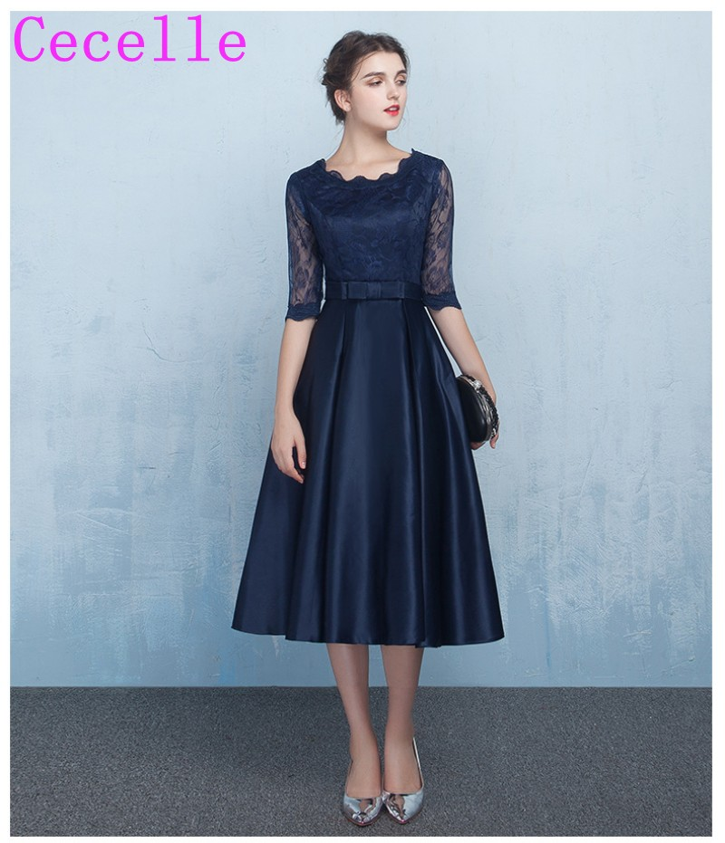 Short Navy Blue Modest   Bridesmaids     Dresses   With Lace Sleeves A-line Knee Length Satin Informal Wedding Party   Dresses   Custom Made
