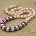 Orange 9-10mm natural nearround pearl beads chain necklace women purple spacer crystal high grade choker jewelry 18inch B3112