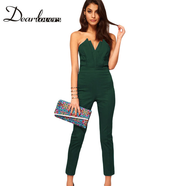 Hot sell Plus Size S-XXL combinaison women Sexy Strapless V-neck Jumpsuits & Rompers with Pleated Bust overalls for women LC6211