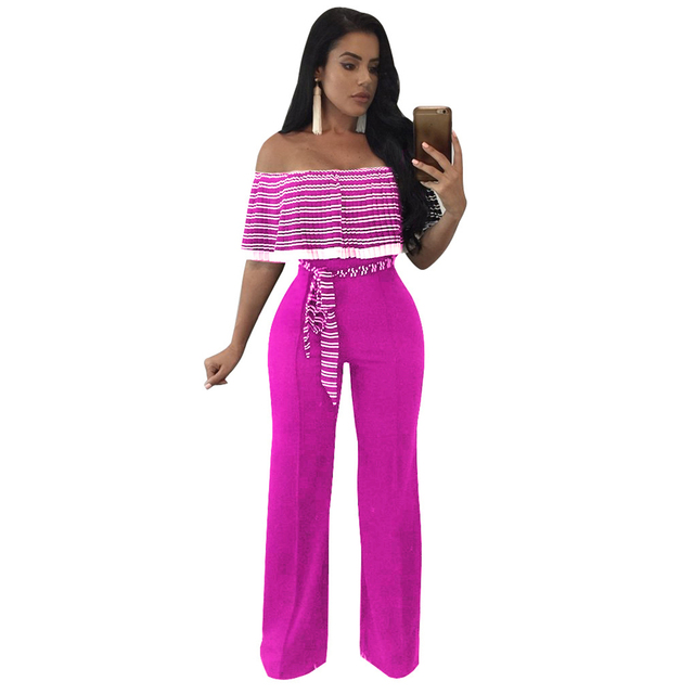 3xl Plus Size Strapless Rompers Womens Jumpsuit Slash Neck Striped