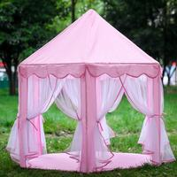 Pink Portable Princess Castle Tent Children Activity Fairy House Funny Indoor Outdoor Playhouse Baby Beach Tent Toy (No balls)