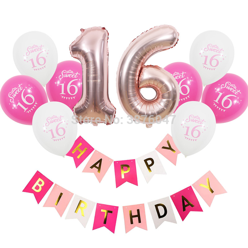 Sweet 16 birthday banners  16th birthday party decorations sweet 16 printed balloon  number 16 ballon sets girl birthday ballsSweet 16 birthday banners  16th birthday party decorations sweet 16 printed balloon  number 16 ballon sets girl birthday balls
