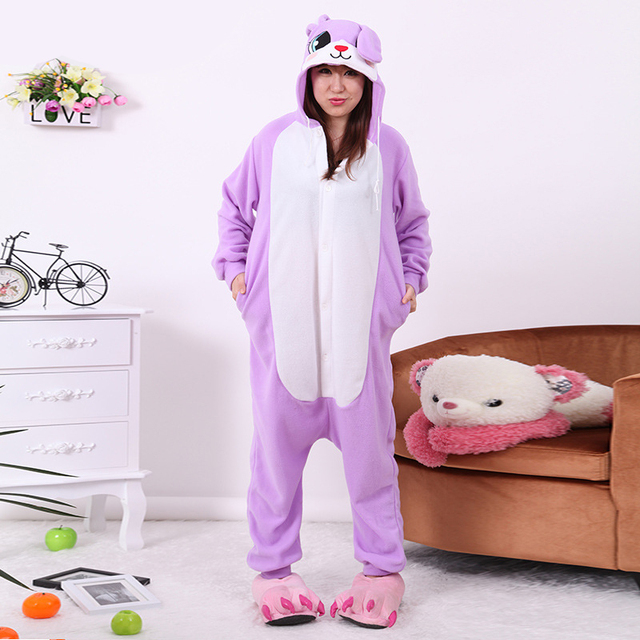 727be0041f78 Adult Women violet color cute bunny Judy Onesies Costume Animal Cosplay  Pajamas Pyjamas Halloween COS Men polar fleece Sleepwear