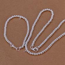 Silver plated refined luxury fashion gorgeous prayer beads necklace bracelets two piece hot selling wedding jewelry S062