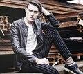 Черный лето тонкий воротник-стойка полиуретан кожа куртка свободного покроя мужские мотоцикл искусственная кожа куртки и пальто 2XL