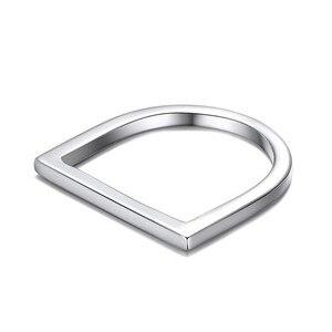 Image 2 - 100% 925 כסף סטרלינג טבעות לנשים Minimalis משרד פשוט עיצוב טבעת תכשיטים טרנדי אביזרי Anillos Mujer