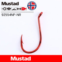Mustad Fishing Hooks 92554NP-NR Olecranon Red Barbed Fishhook Lures Holder Sea Tackle Pesca Single Hook