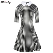 Oxiuly Women Vintage Houndstooth Plaid Print Shirt Dress Spring Autumn Half Sleeve Office Lady Dresses