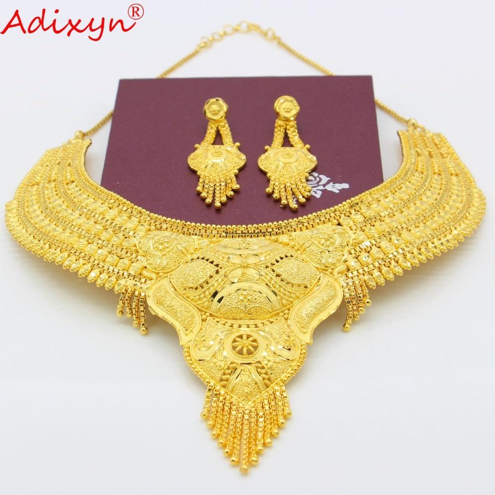 Adixyn Trendy Ethiopian Dubai Jewelry Set Necklace Earrings Gold Color Trendy African Jewelry For Women Girls Adixyn Trendy Ethiopian Dubai Jewelry Set Necklace/Earrings Gold Color Trendy African Jewelry For Women Girls Gifts N100710
