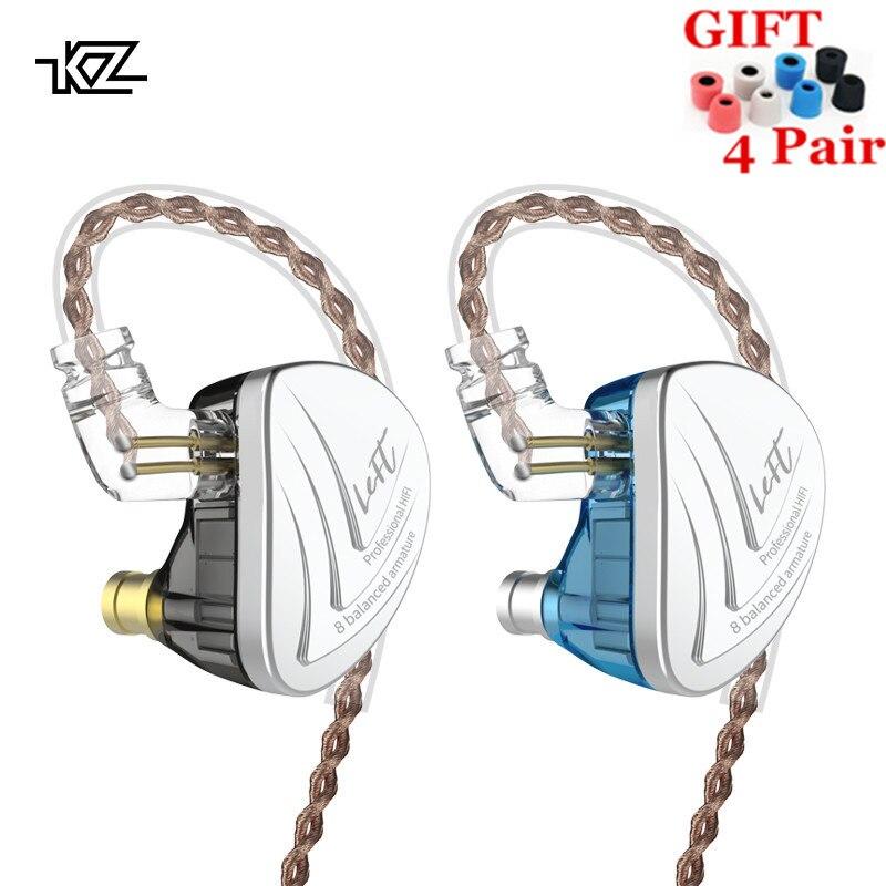 KZ AS16 8BA dans l'oreille écouteur équilibré Armature casque haute qualité sonore moniteur HiFi écouteurs KZ AS12 AS10 BA10 AS06 C16 A10
