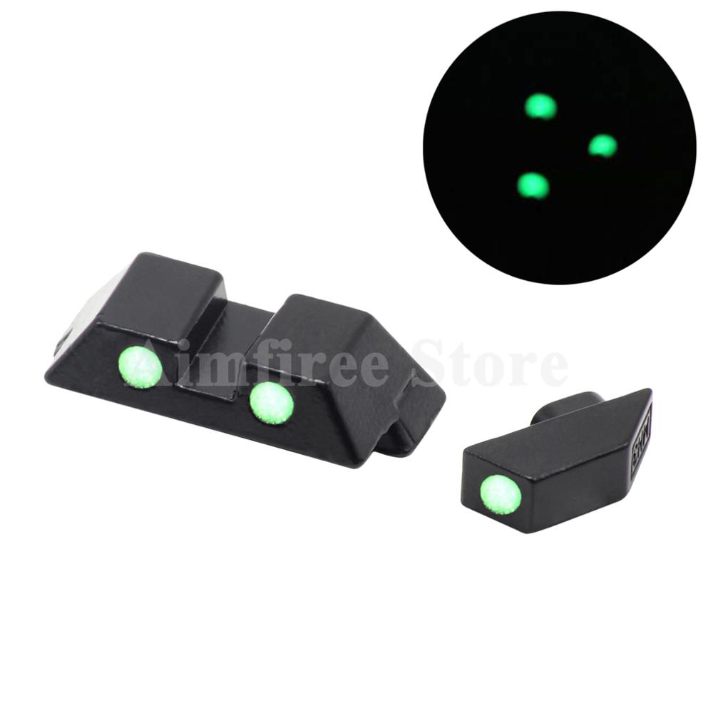 Hunting Pistol Handgun Glow in the Dark Night Sights Front and Rear Sight Set For Glock 17, 19, 22, 23, 24, 26, 27, 33, 34, 35 glow in the dark flower pattern protective plastic front back skin protector for iphone 5 5s