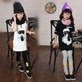 Primavera Outono Meninas Galeries T-shirt Estiramento Manga Comprida Camisa Dos Miúdos Roupas Branco Preto Impressão Dos Desenhos Animados