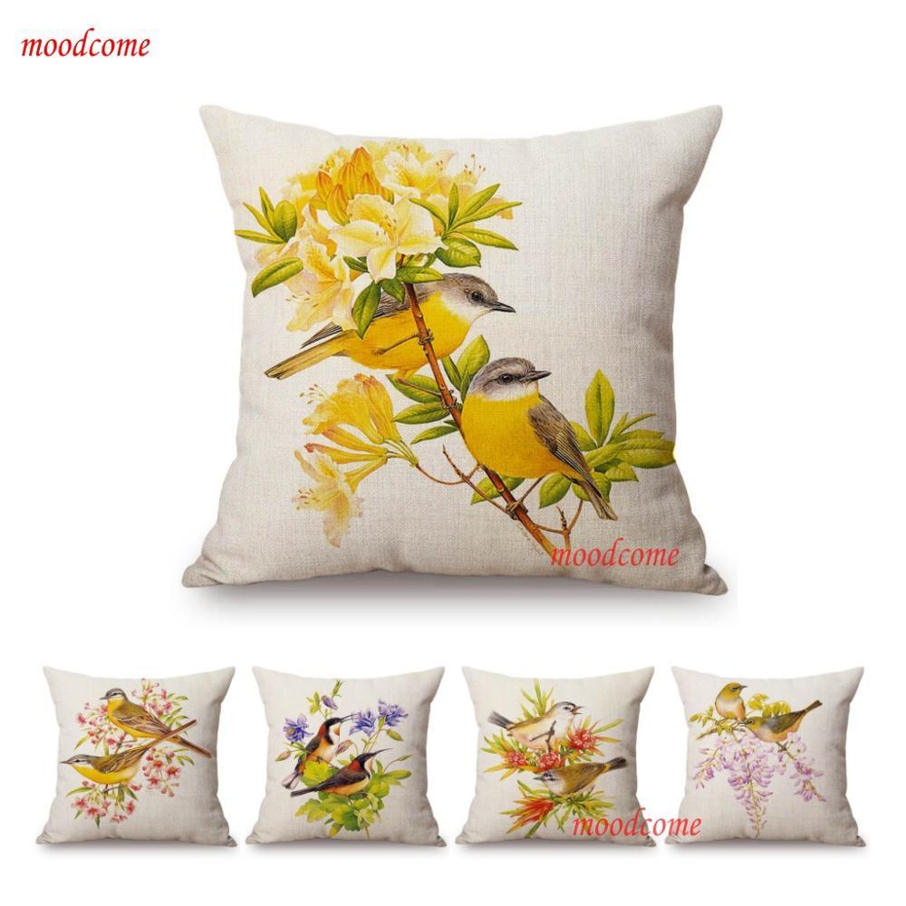 18inch Cotton Linen Throw Pillow Case Letter Vintage Sofa Waist Cushion Cover