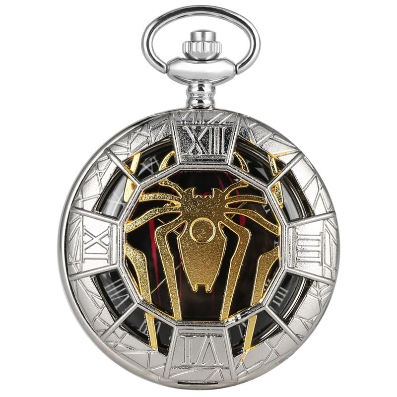 Steampunk Watch Top Luxury Spider Hollow Design Black Dial Chain Pendant Mens Pocket Watch Gift Reloj De Bolsillo Dropshipping